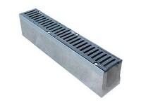 Лоток водоотводной пластиковый с чугунной решеткой ячеистой L1000хB145хH100