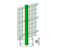 Столб L=2,3м 60*40 ПП RAL6005 с пластиковой крышкой и креплением